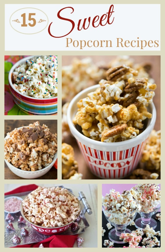 A round up of fifteen delicious sweet popcorn recipes.